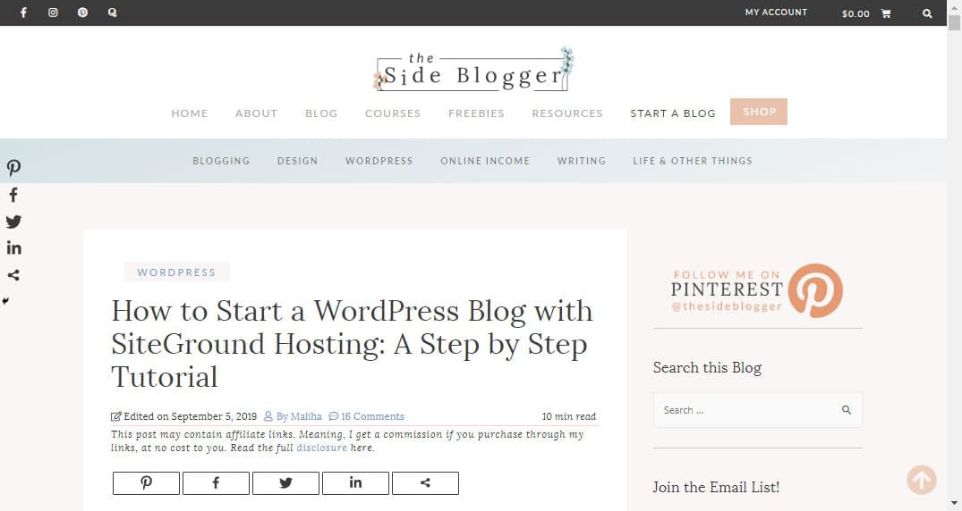 A tutorial post for how to use SiteGround to set up a self-hosted WordPress blog. This post serves as marketing material for selling SiteGround hosting packages - for which I'm an affiliate.