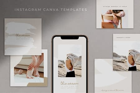 Instagram Canva templates for bloggers and influencers - Adie - 26 templates total.