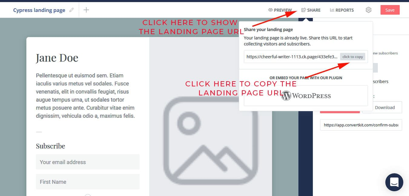 "Click on ""Share"" to grab the shareable link to the landing page."