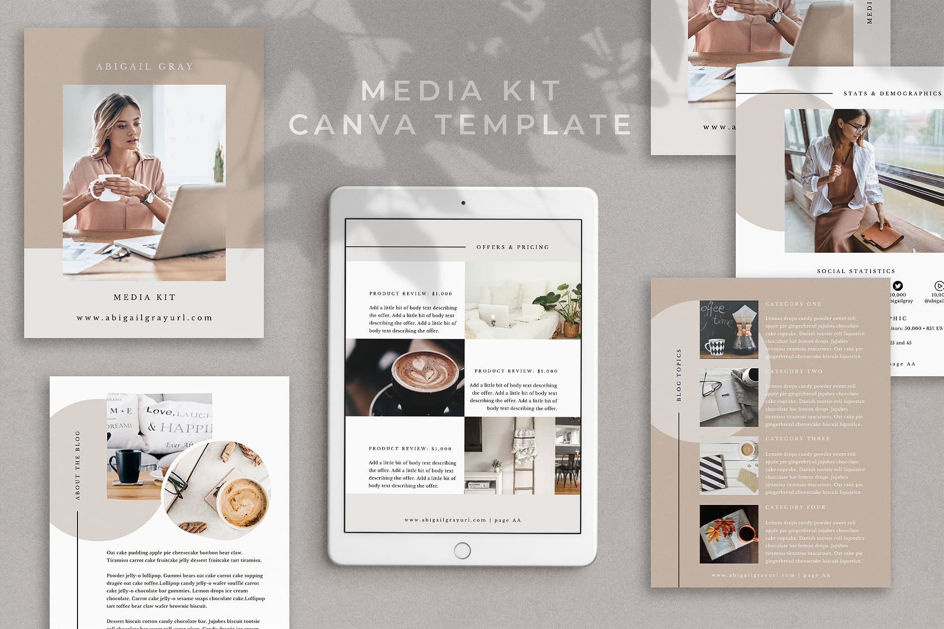 Abigail - Media kit template in Canva
