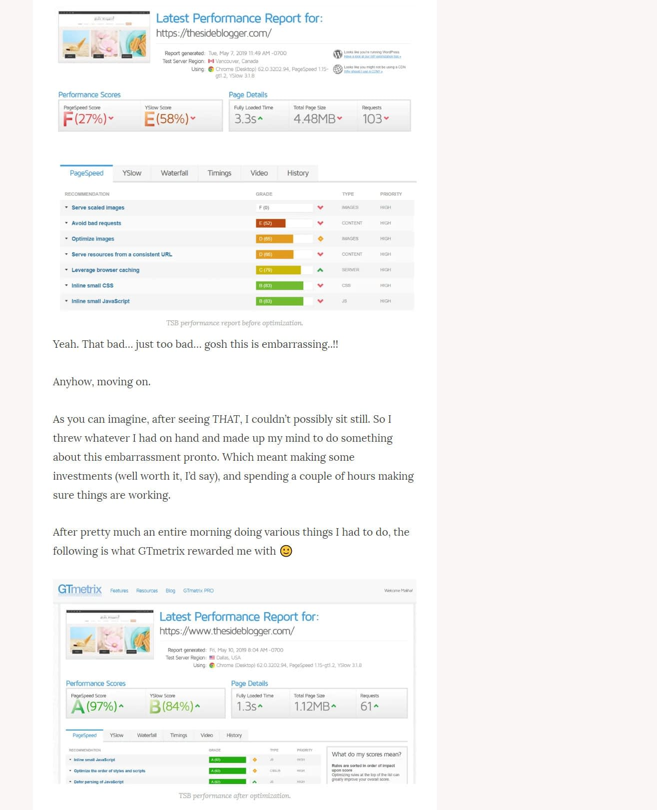 Proof of how a higher SiteGround hosting package improved my blog's speed and performance.