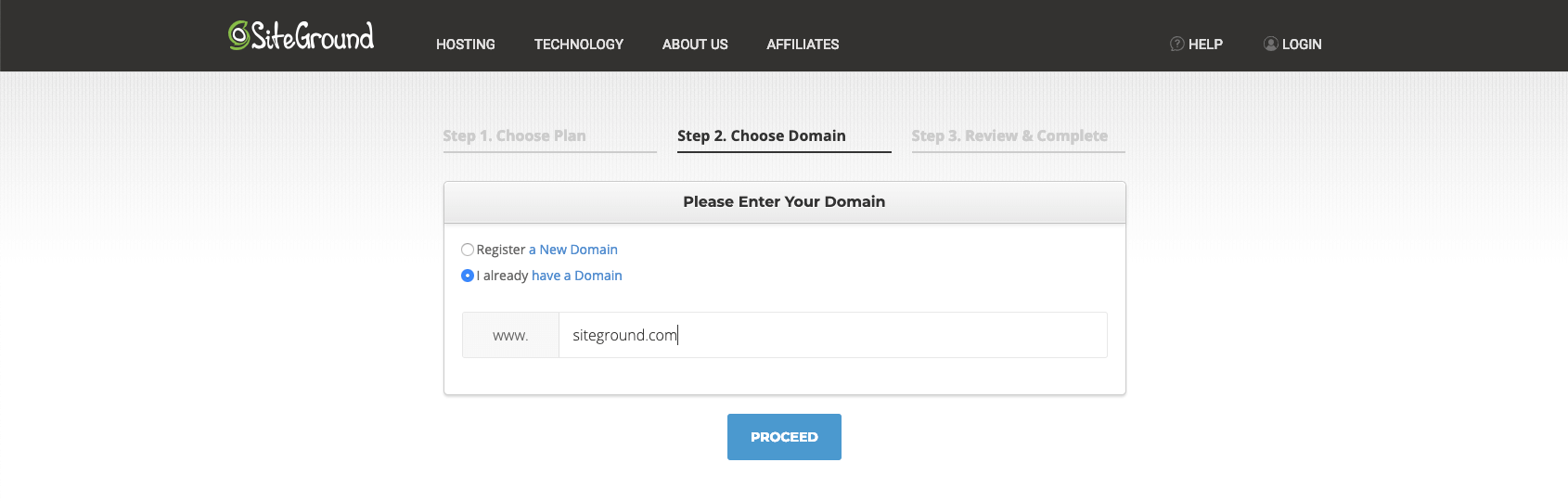 Choose a new domain, or use one you already own, in this step of the sign-up process.