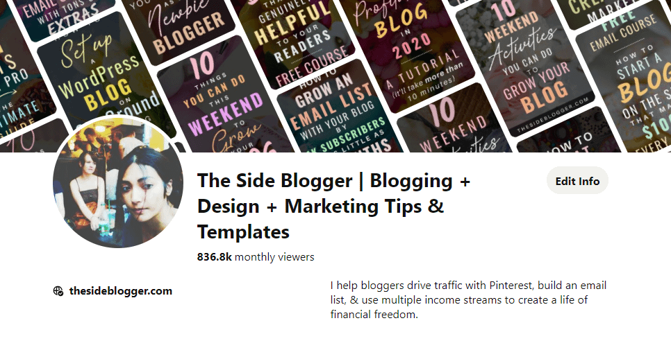 Pinterest profile of The Side Blogger, a.k.a. this blog!