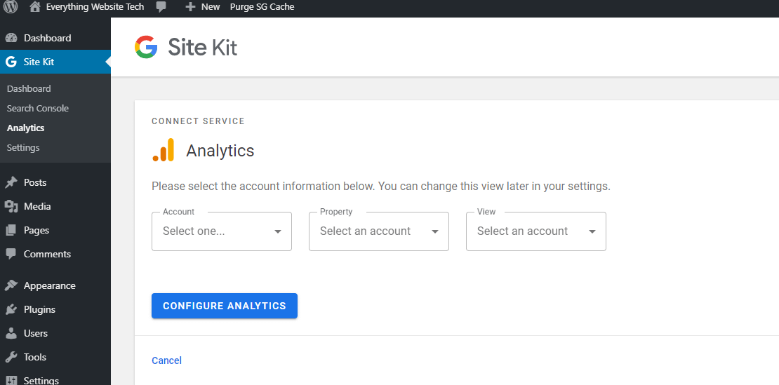 You will need to choose an Analytics account in this step, or create a new account.