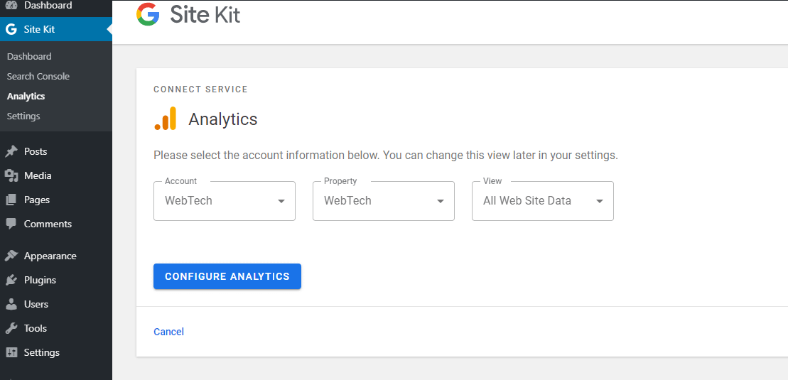 Click Configure Analytics to finish setting up Analytics.