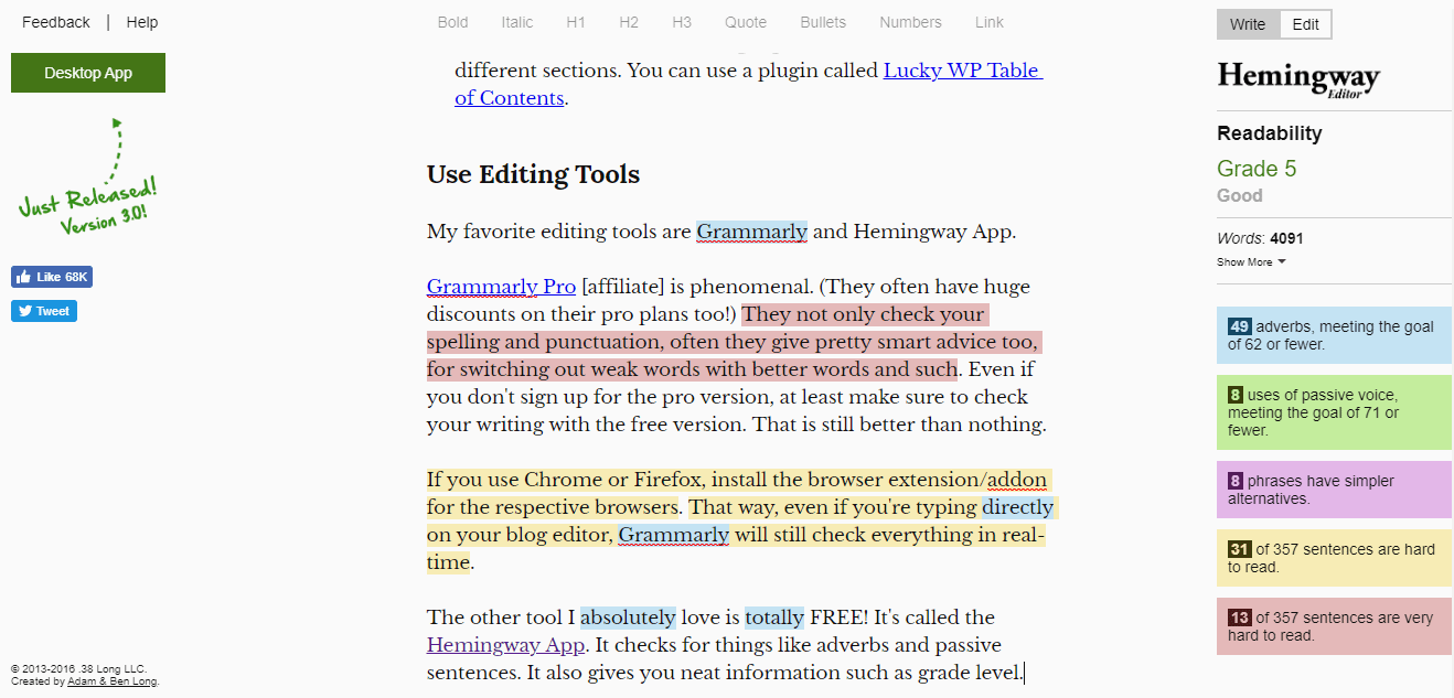 use the Hemingway Editor to check your writing quality.