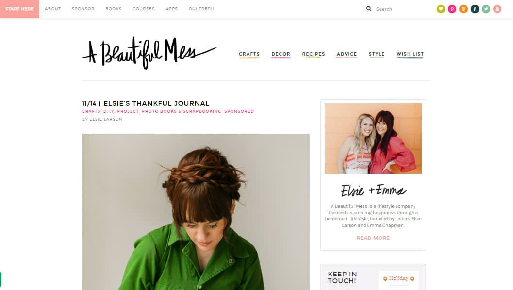 A sponsored post for canon Printer/App on A Beautiful Mess. The post is about creating a gratitude journal, and blogger Elsie simply uses the Canon product to print the photos she needed for the journal.