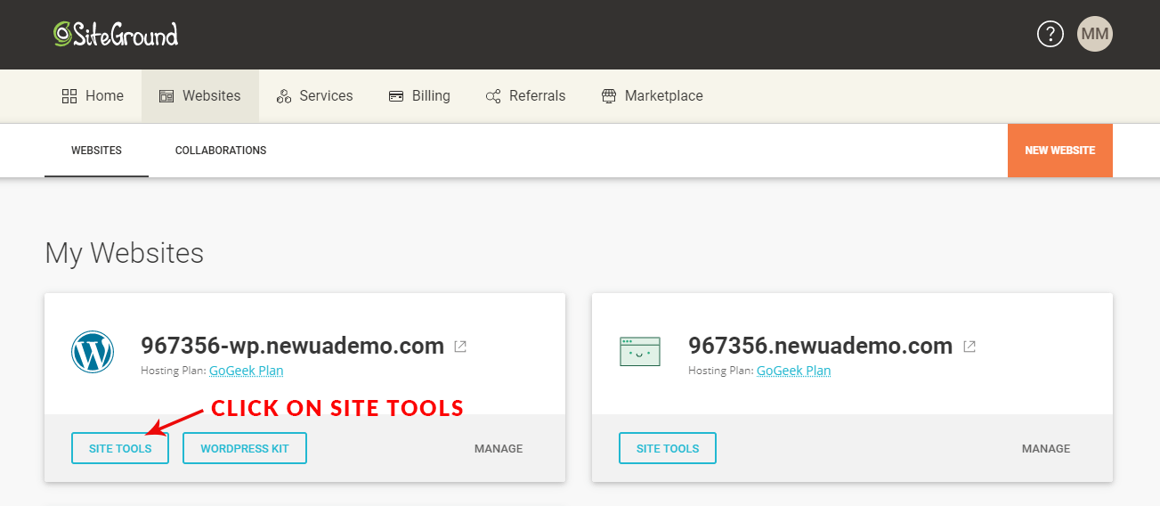 """You'll need SiteGround nameservers to point your third-party URL to SiteGround. Log on to your SiteGround account, click on """"Websites"""", and then click on """"Site Tools"""" below your URL. This will show you the nameservers you'll need to use."""