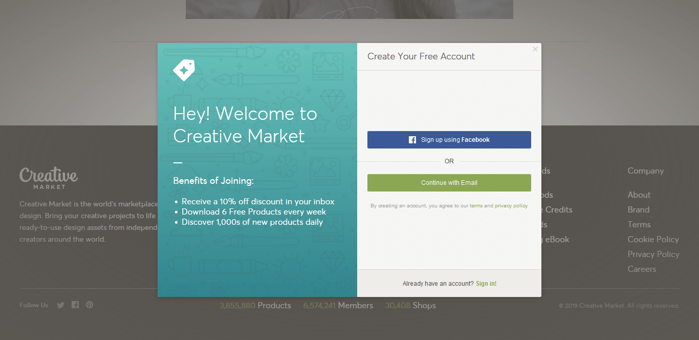 Now, create a new account on Creative market, or sign in using your existing account information.
