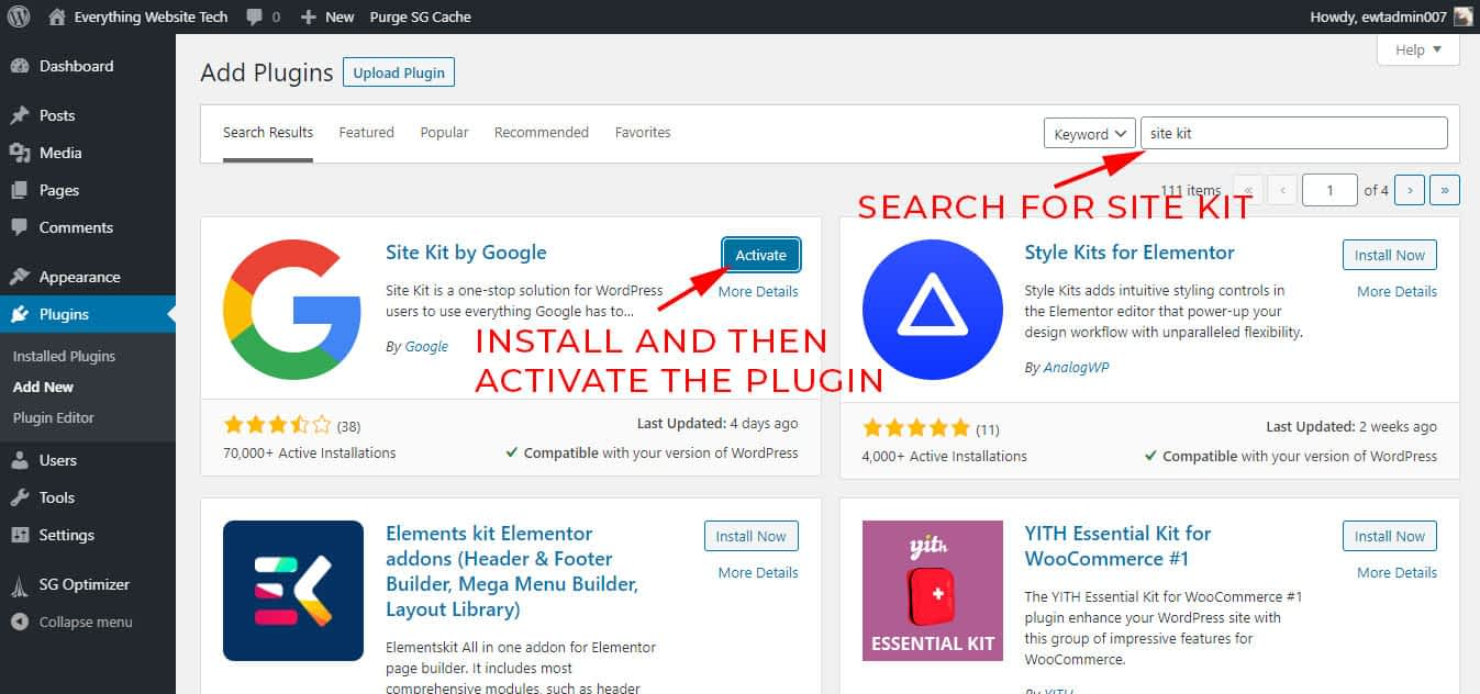 Start by installing and activating Site Kit by Google plugin.