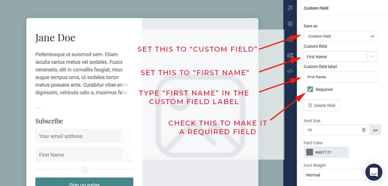 Make sure to set the newly created field to be the First Name field.