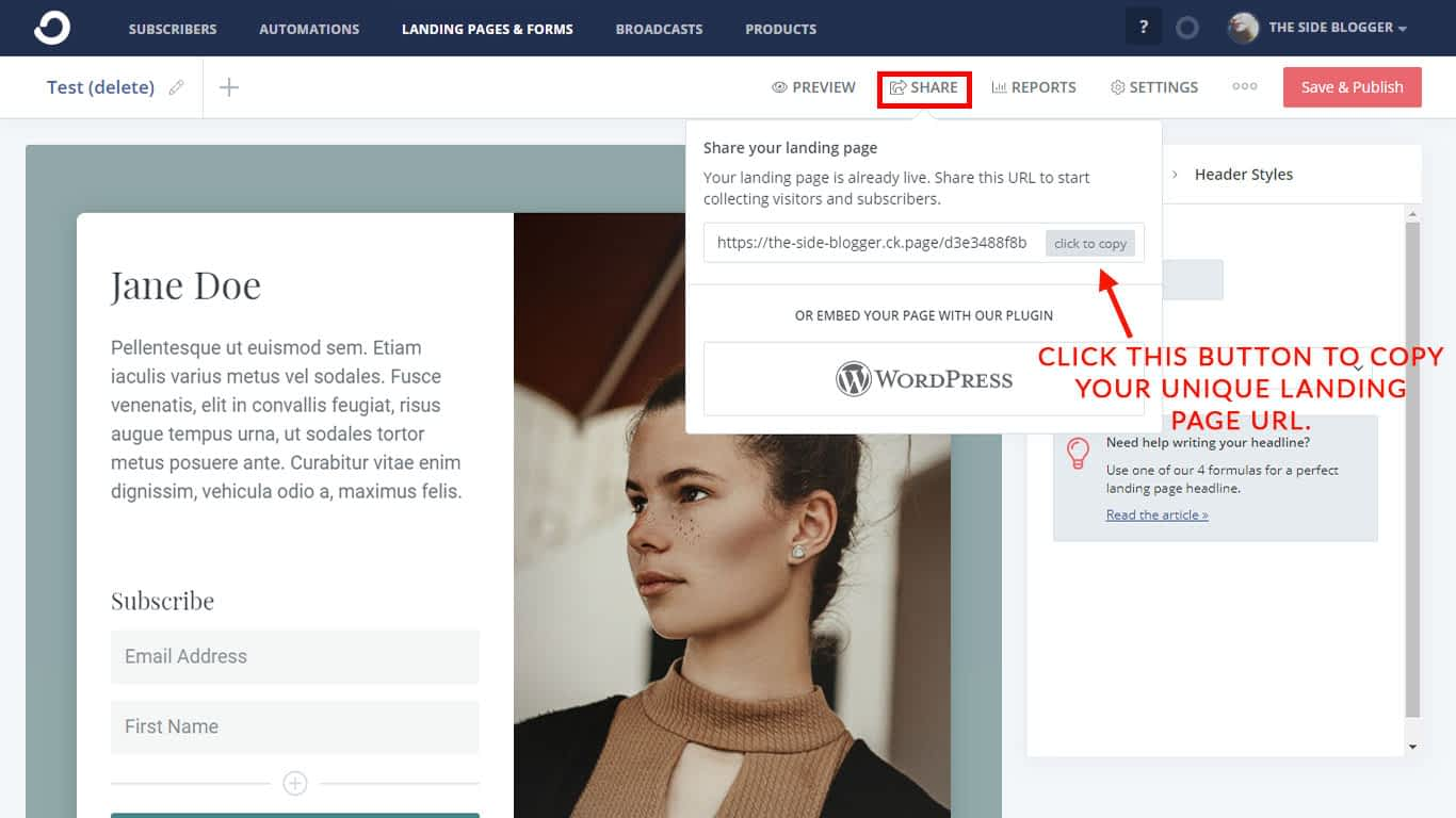 """Find the unique URL for your landing page under the """"Share"""" tab."""
