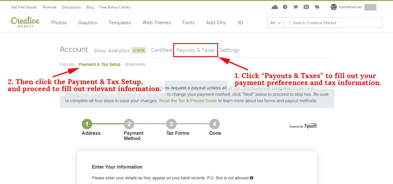 Set up your payout and tax information.