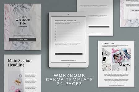 Workbook Canva template - 24 Pages - Silver