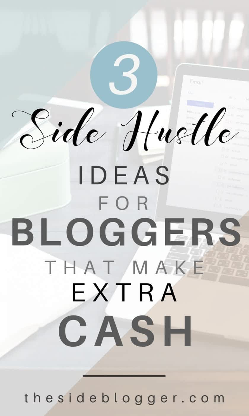 In this blog post, I share three side hustle ideas for bloggers to make some extra cash every month by offering services such as writing/blogging, setting up WordPress or working as a Virtual Assistant or VA   The Side Blogger   #blogger #blogging #blog #sidehustle #writing