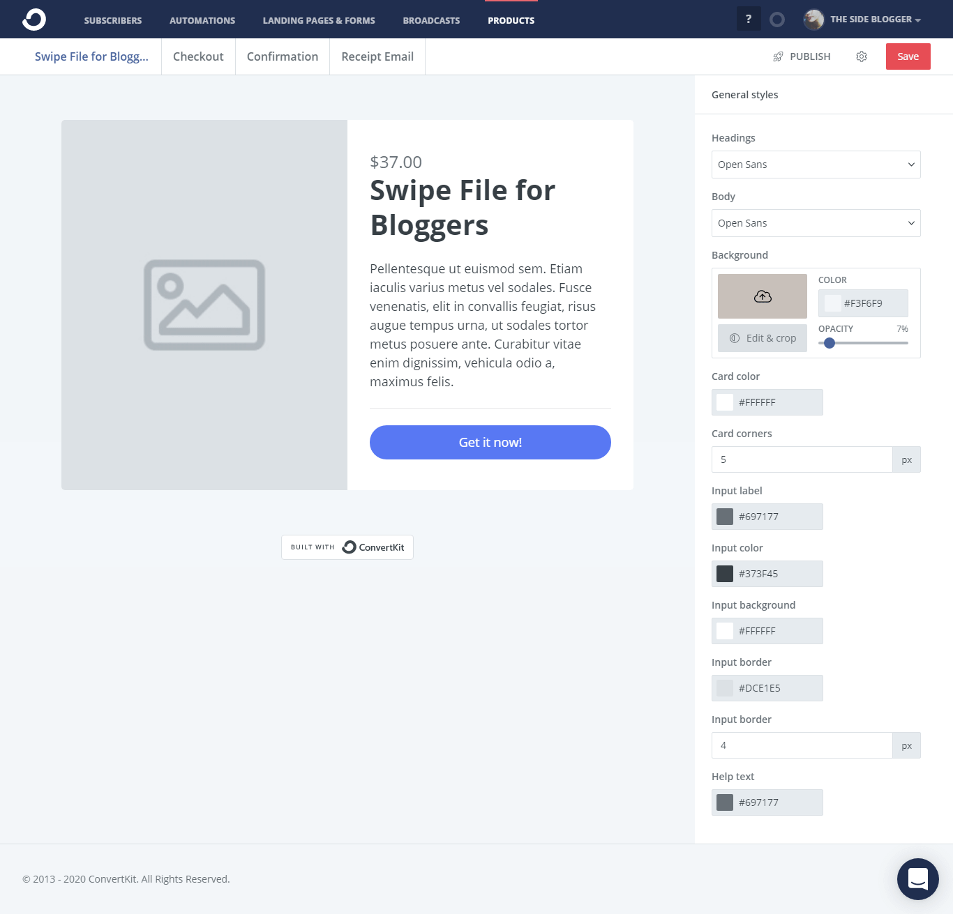 Srt up the product page on ConvertKit Commerce