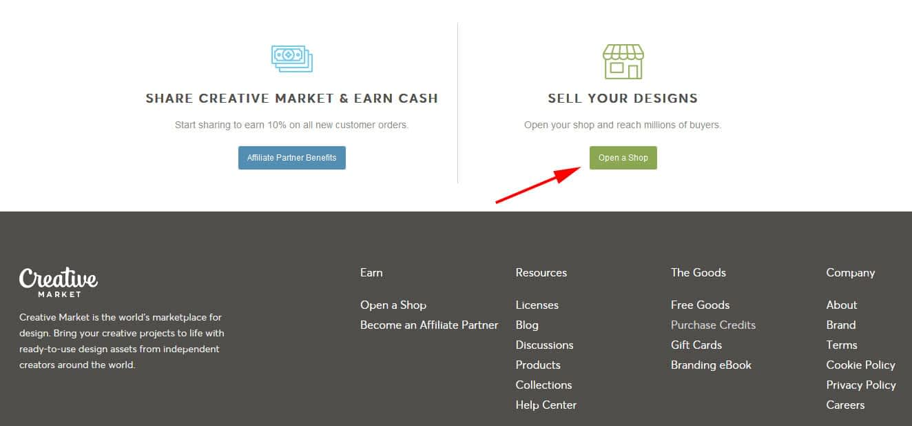"""Click the button that says """"Open a Shop"""" to open your shop on Creative Market."""