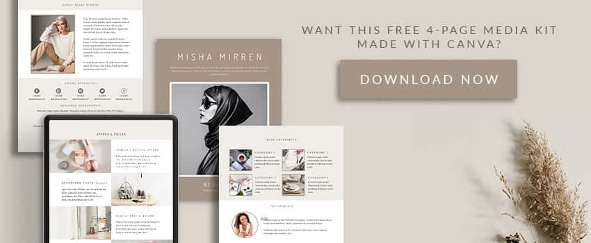 Sign up for my newsletter and this 4-page Canva media kit template is yours! For FREE!