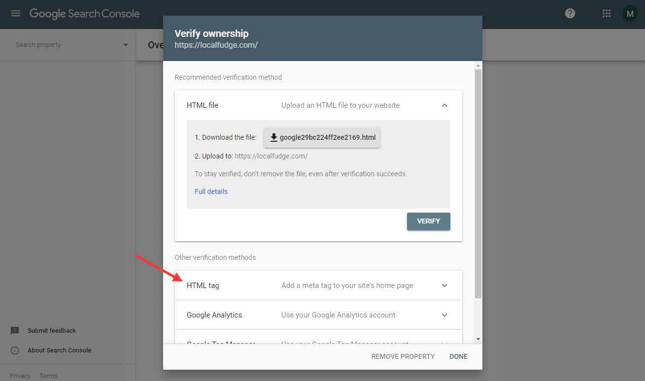 Use the HTML Tag method to verify your ownership.