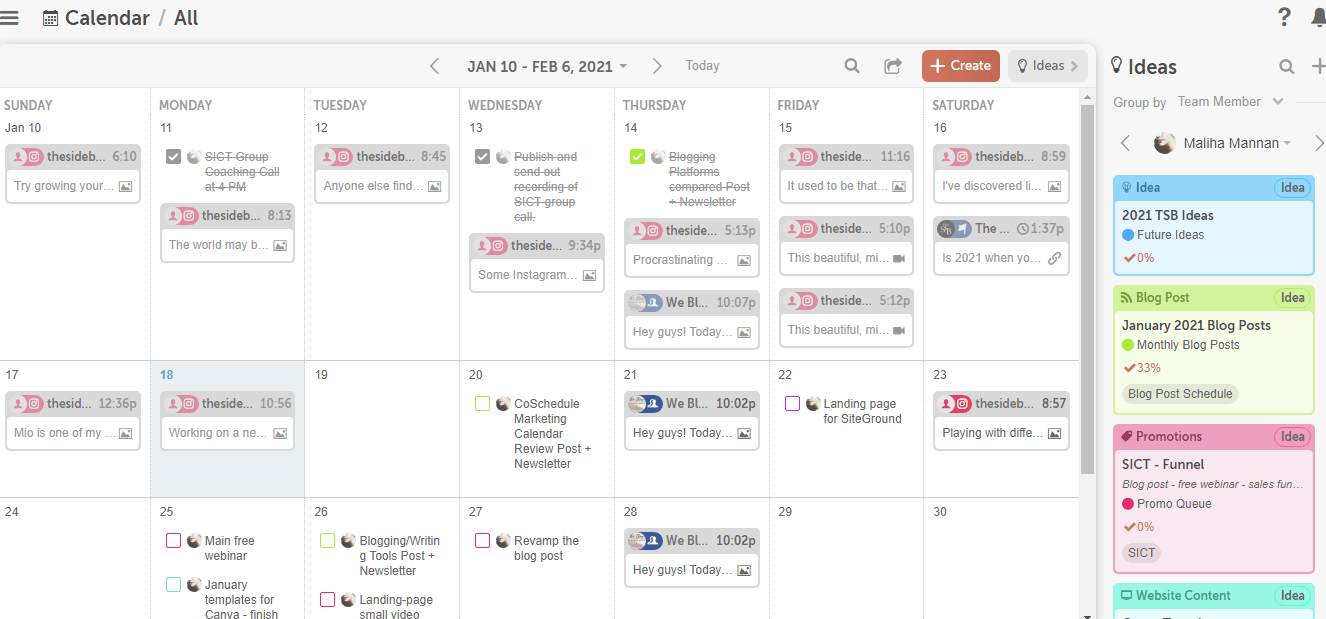 CoSchedule Ideas panel next to the calendar