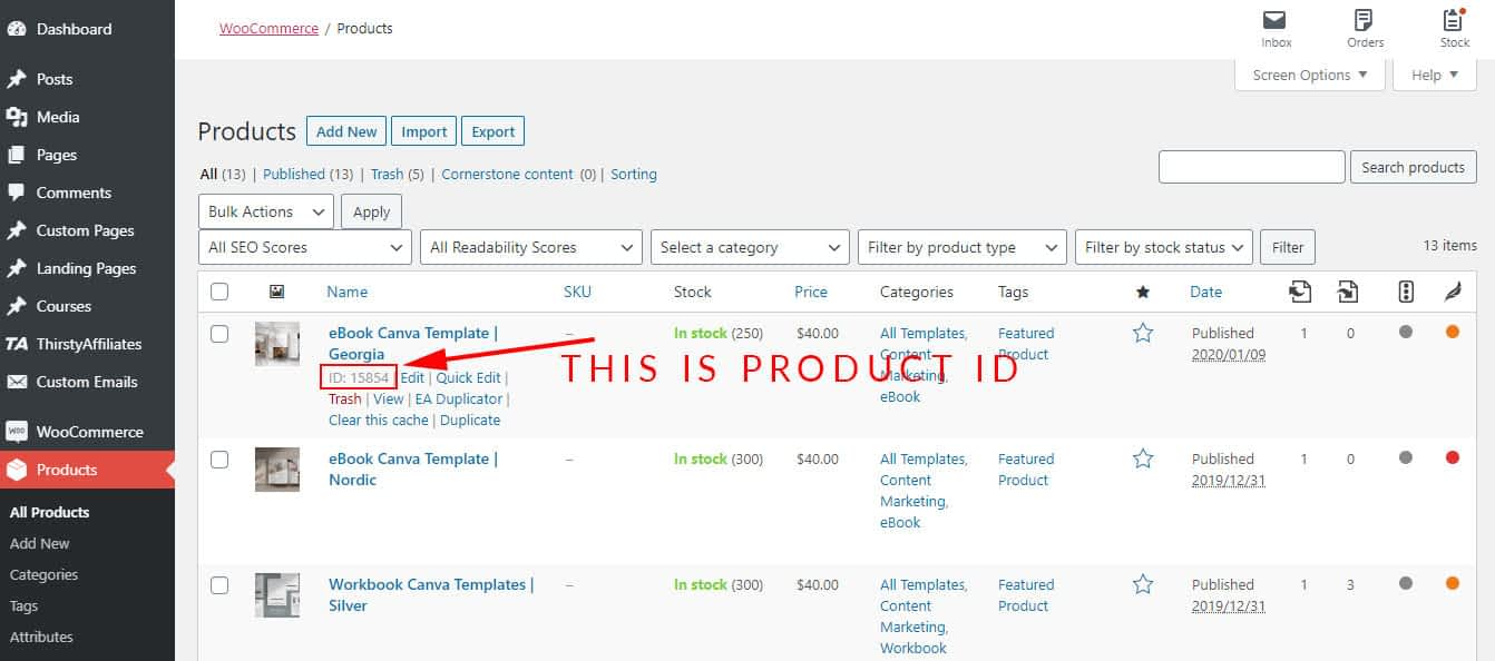 WooCommerce Product ID is located right underneath the product name inside Dashboard, in the list of products page.