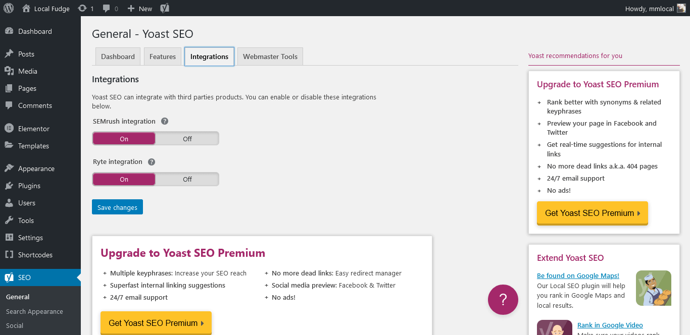 Under integrations tab, SEMrush and Ryte integration should be enabled by default.
