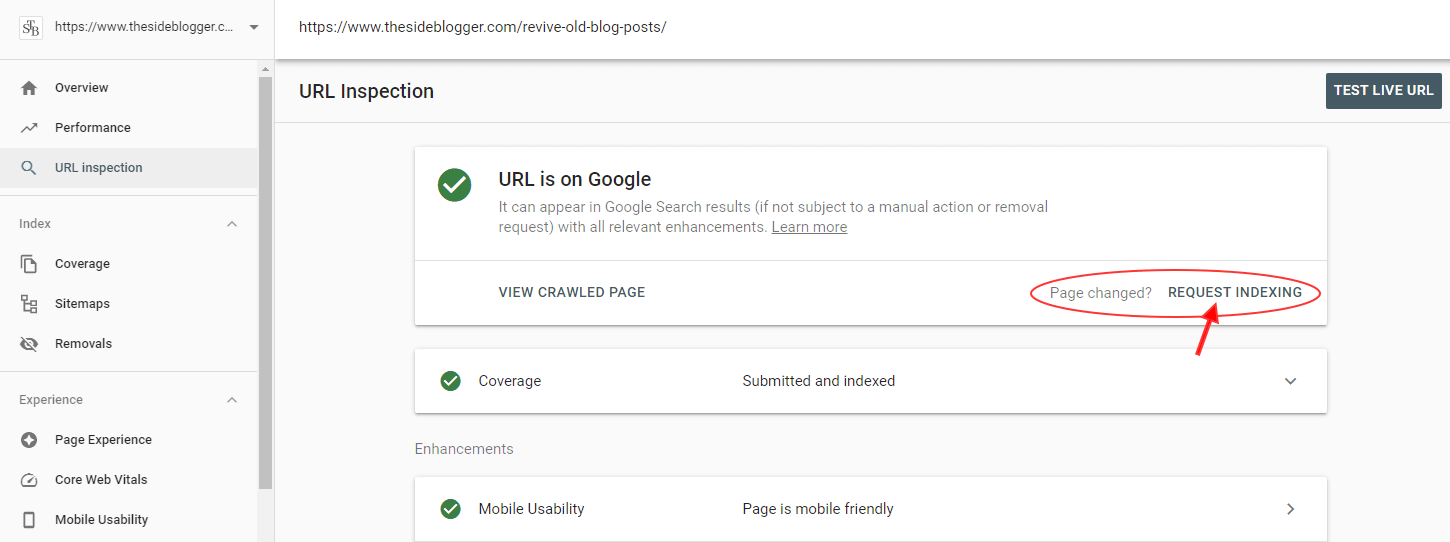 You can manually ask Google to re-index a page. It's useful when you've updated an old page or post with new information.