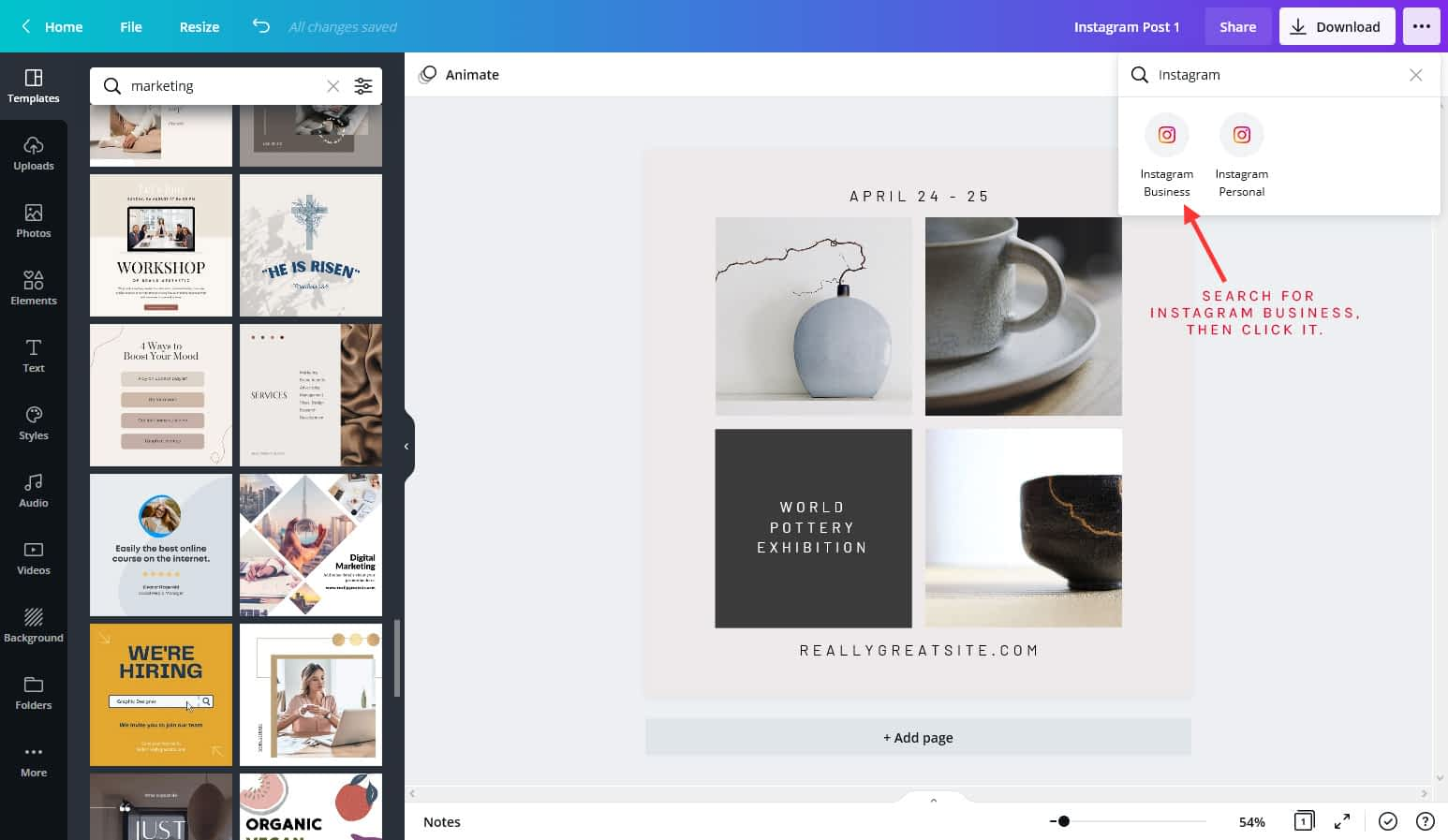 Schedule Instagram post with Canva pro