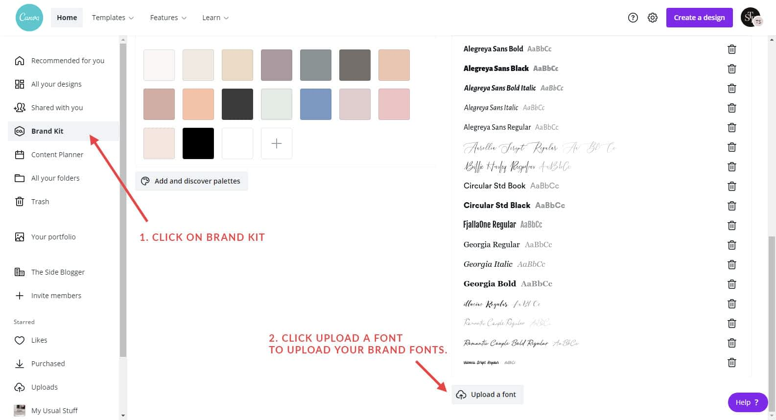 Upload fonts in Canva