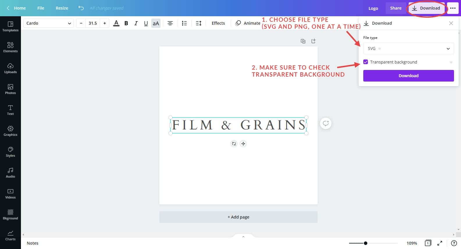 Downloading logo from Canva