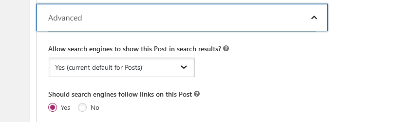 Under the advanced section, you can specify whether or not you want search engines to show this post.