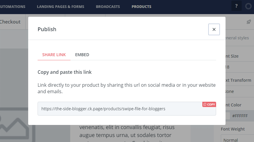 Shareable URL for the product page
