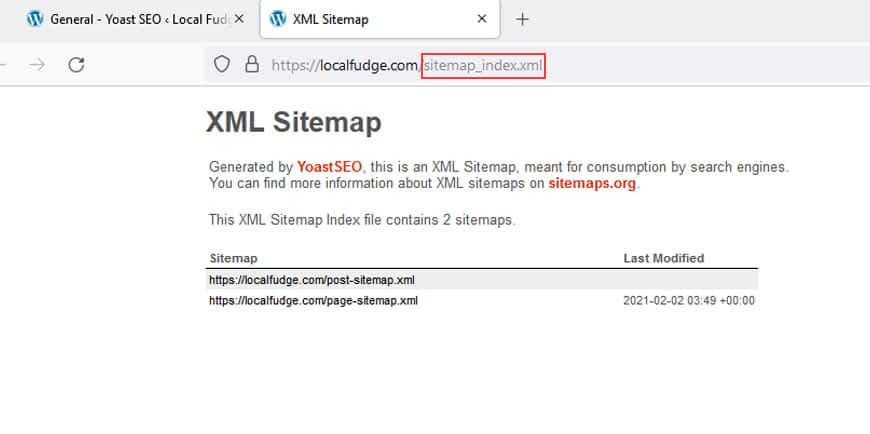 Make note of the URL prefix of the XML Sitemap.