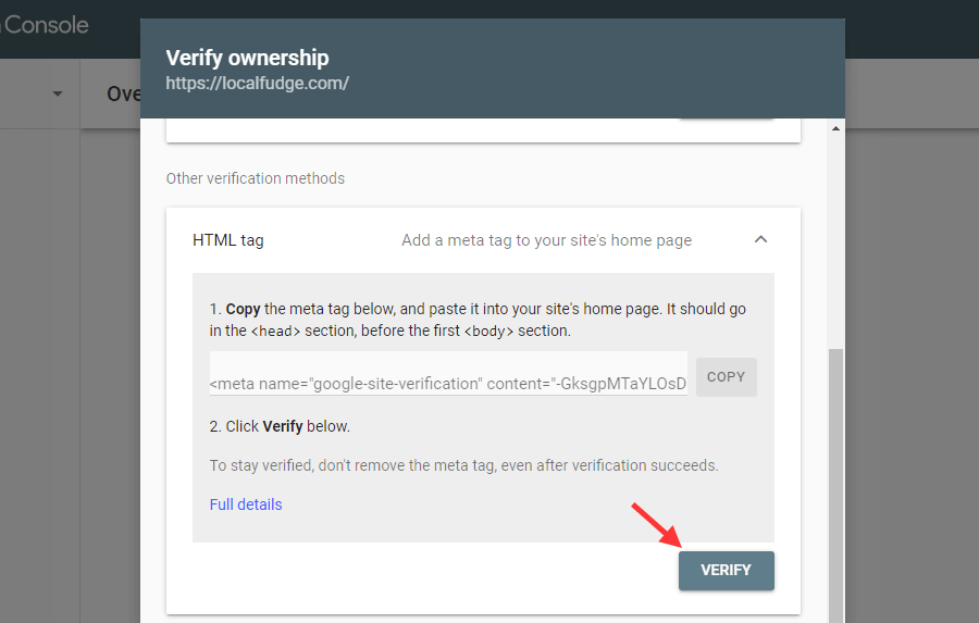 Click verify under the HTML tag to verify your ownership.