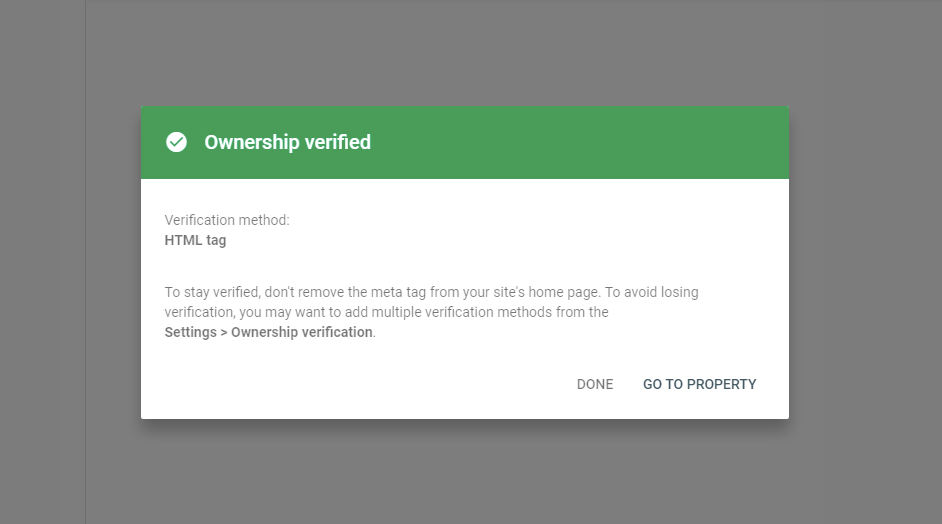 You've now successfully verified your site ownership in Google Search Console.