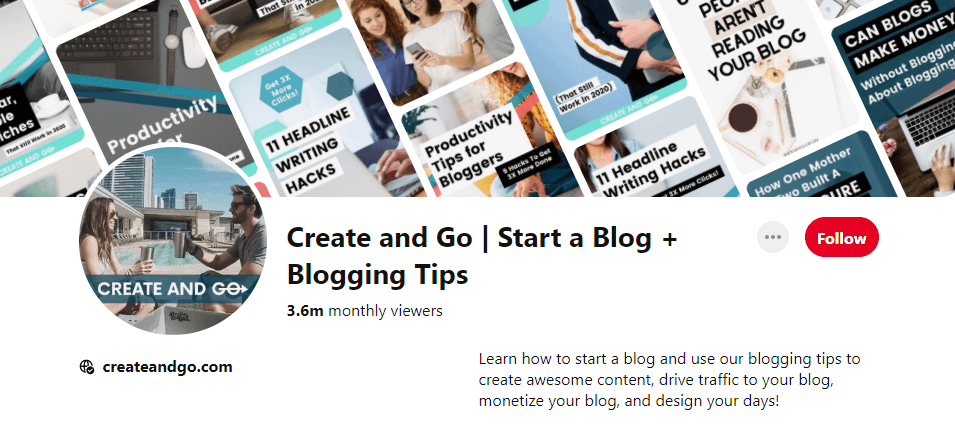 Pinterest profile of Create and Go