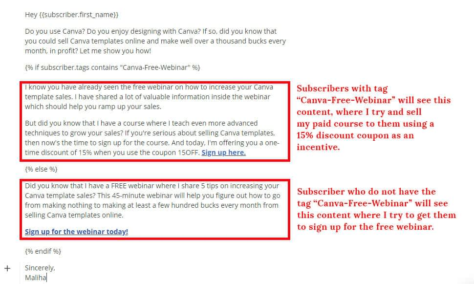 Example of conditional content inside ConvertKit sequence or newsletter.