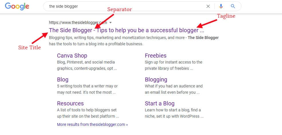 The Side Blogger on Google's SERP