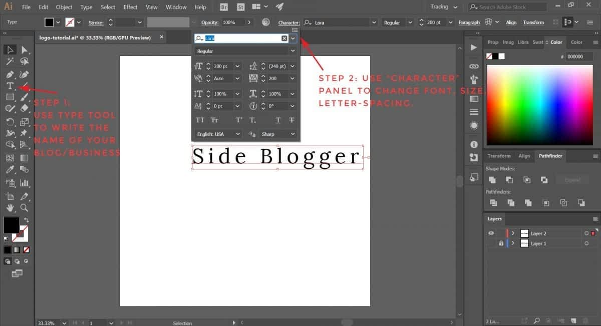 Write your blog/business name on Illustrator.