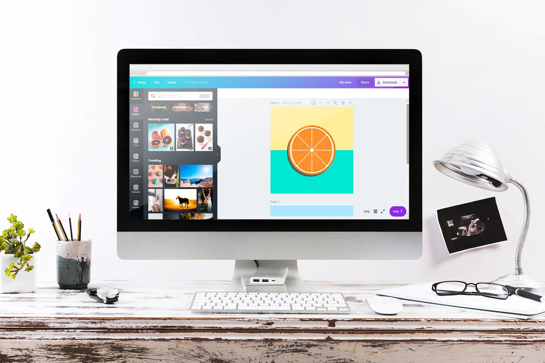 A mockup of Canva -- an internet-based graphic design software.