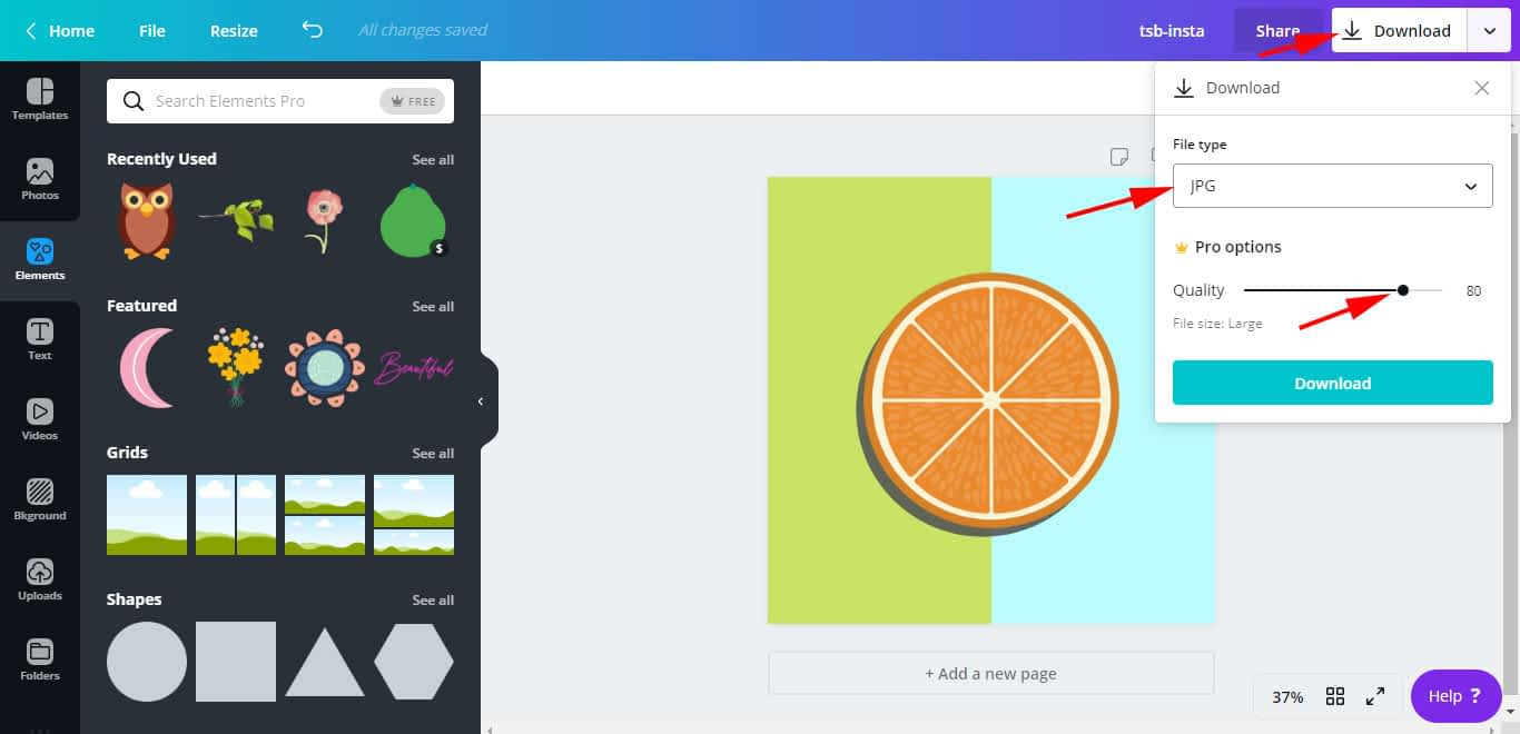For JPG files, if you want file size to be smaller, use the slider to control the quality of the design file.