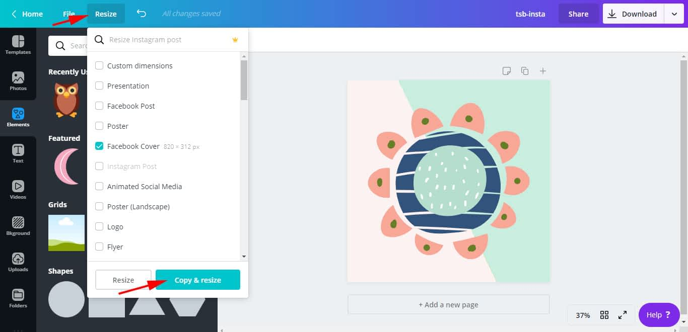 """Use the """"Resize"""" option available on Canva Pro to quickly resize a design with different dimensions."""
