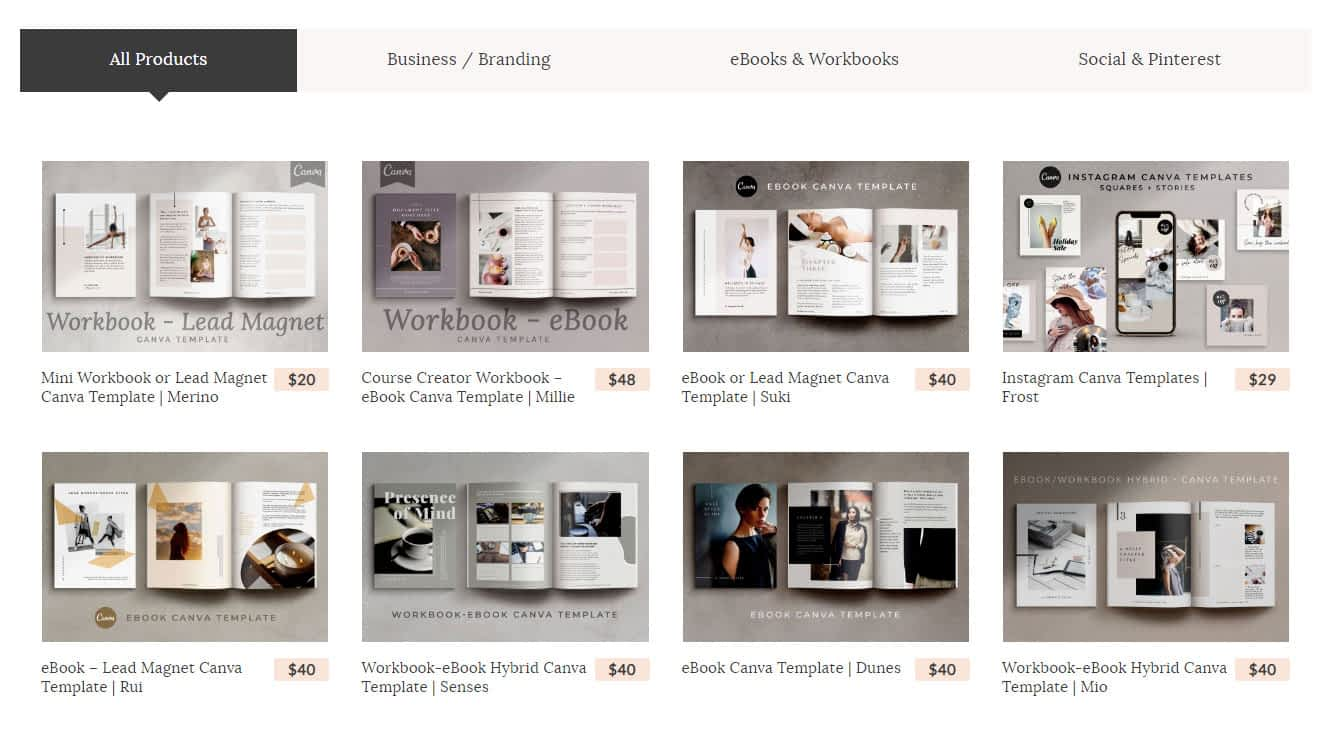 Canva template shop on The Side Blogger