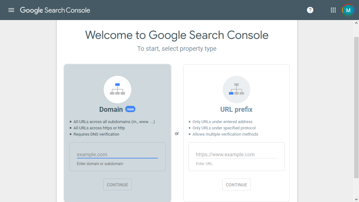 Add your domain and sitemap to Google's search console