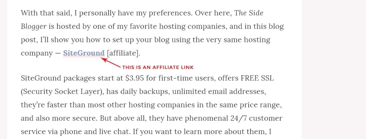 An affiliate link on TSB