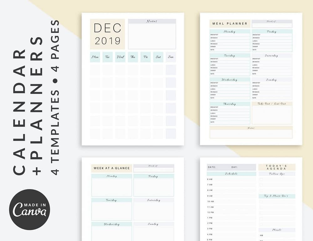 Calendar and Planner Canva templates that can be used as opt-in lead magnet | The Side Blogger