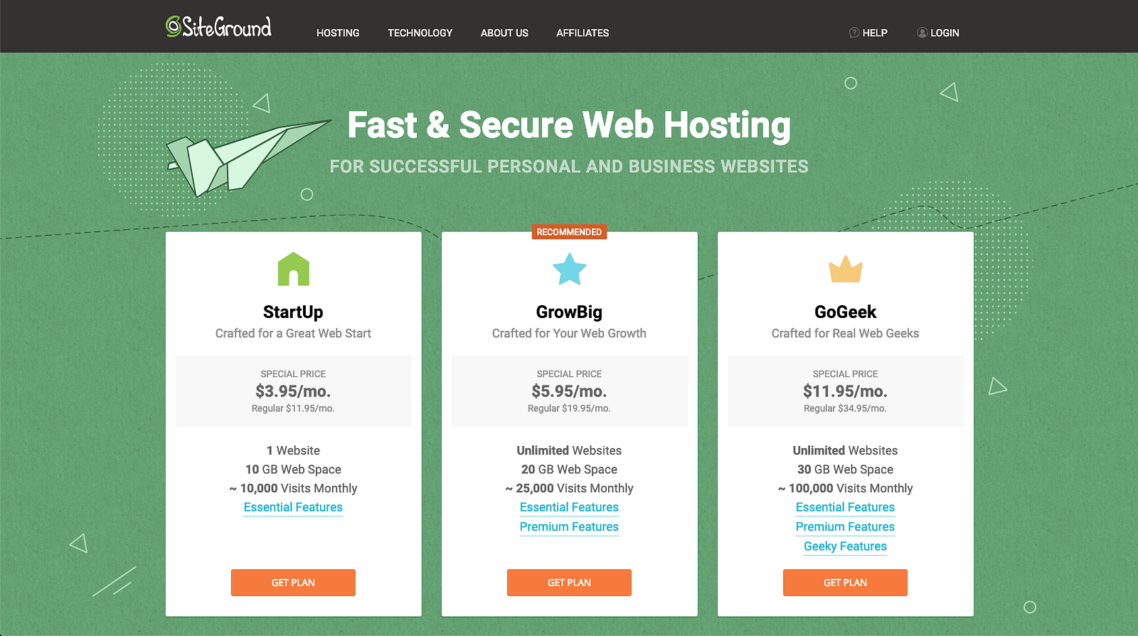 SiteGround hosting offers three shared hosting plans for WordPress users, StartUp, Growbig, and GoGeek. I suggest you choose the GrowBig or the GoGeek plan for maximum benefits and performance.