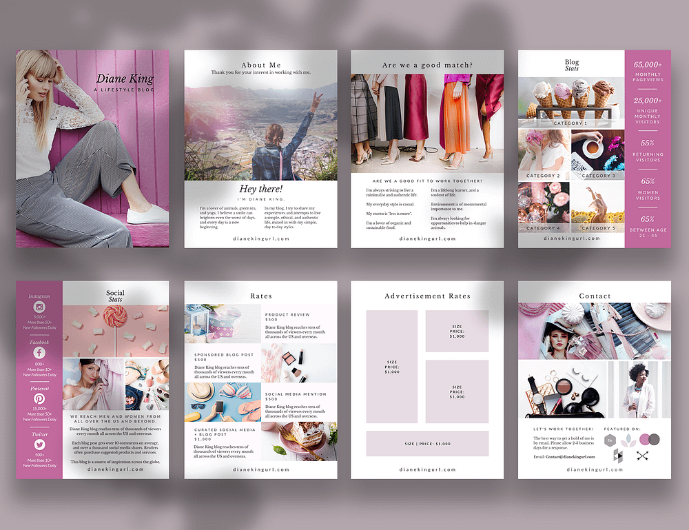 An 8-page media kit template for bloggers, made with Canva.