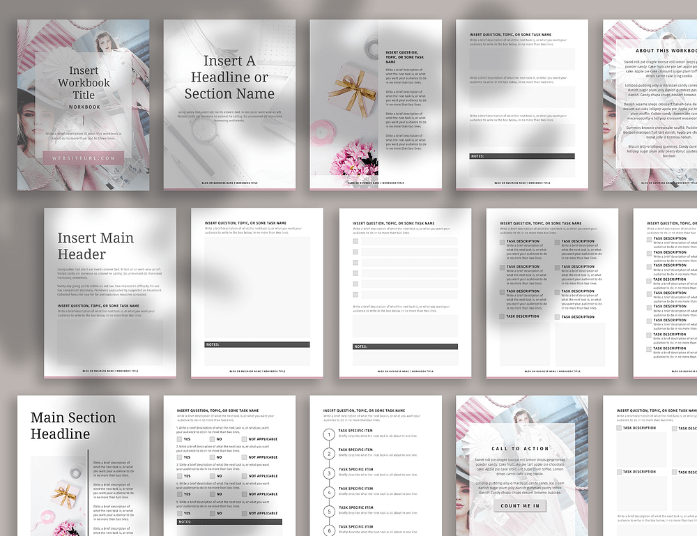 An 18-page workbook template for your blog readers or eCourse students.