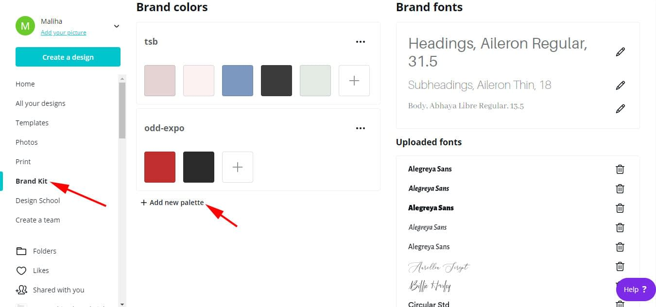 You can add as many color palettes you want and set up your brand fonts with Canva Pro.